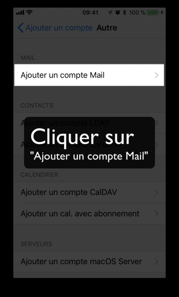 """Cliquer sur """"Ajouter un compte Mail"""""""