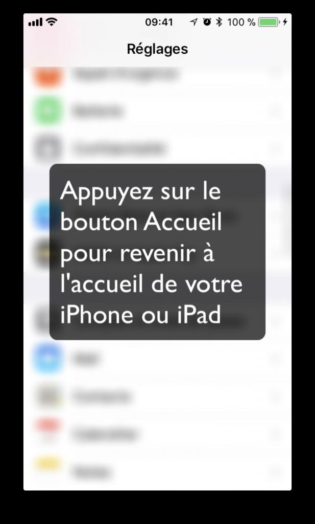 Appuyez sur le bouton Accueil pour revenir à l'accueil de votre iPhone ou iPad